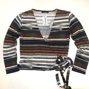 Abbeline striped wrap long sleeve top size S